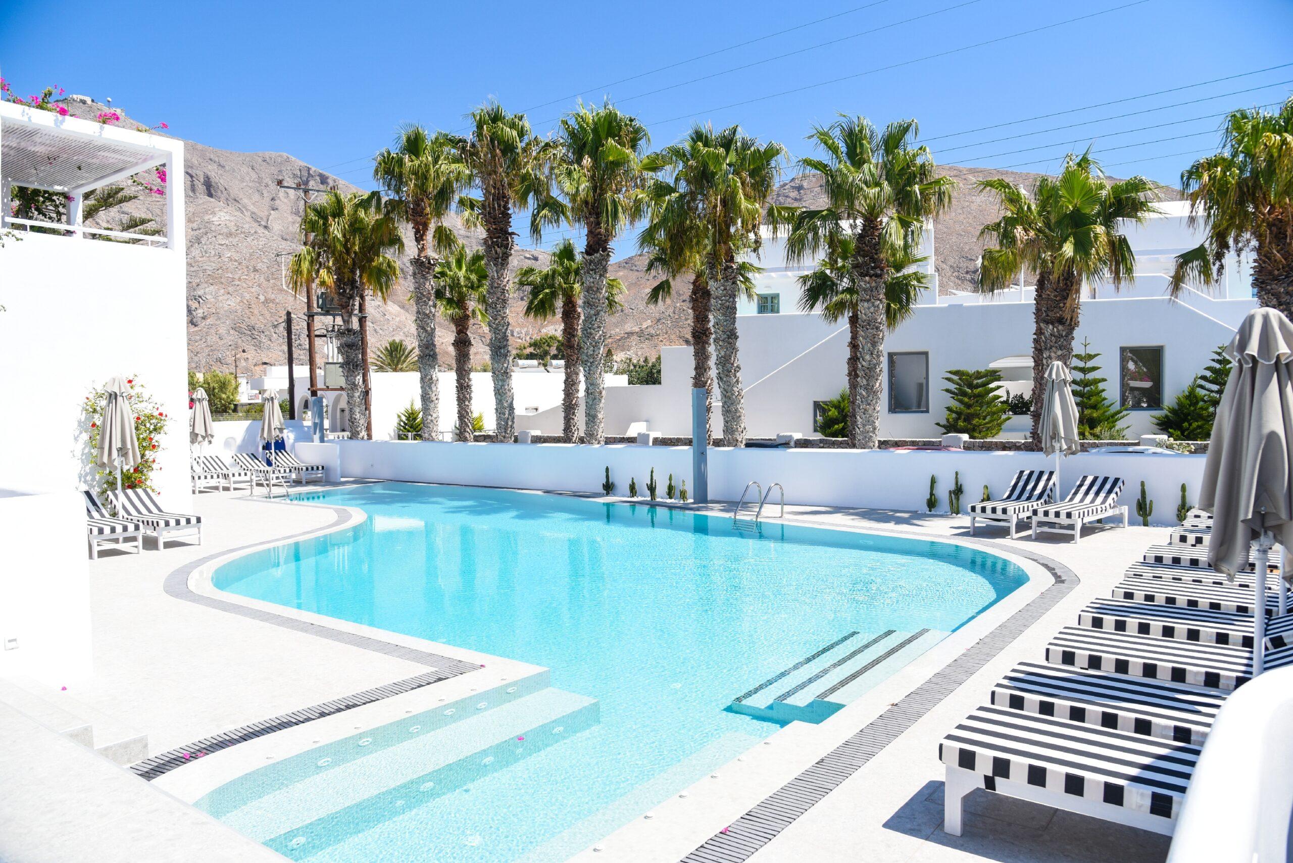 Kouros Village Hotel - Pool area - Perissa Beach Santorini